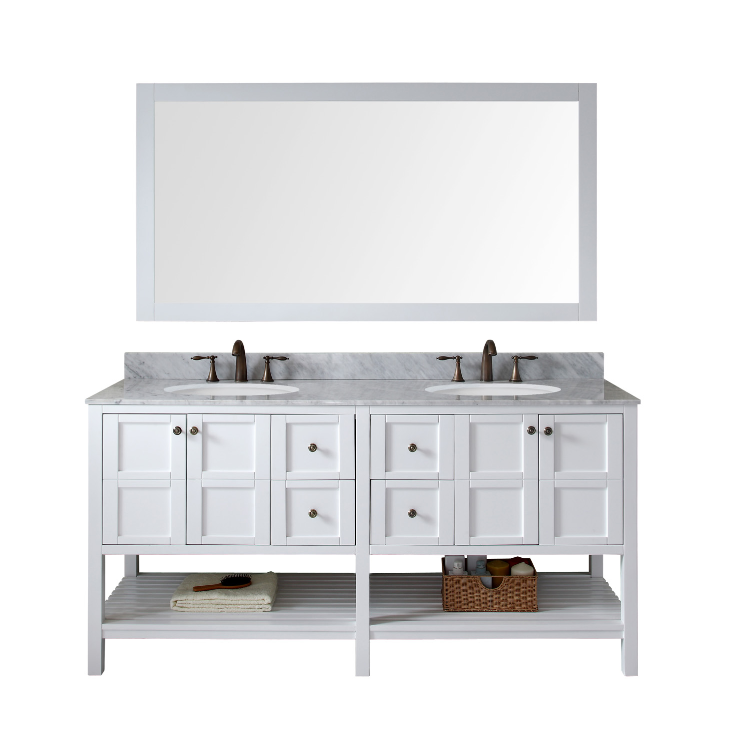 """72"""" Double Bath Vanity in White Finish with Marble Top and Round Sink with Mirror Options"""