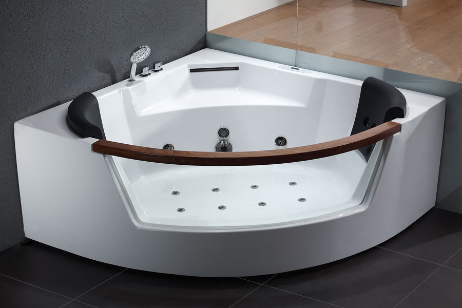 EAGO AM197 5\' Rounded Clear Contemporary Corner Whirlpool Spa
