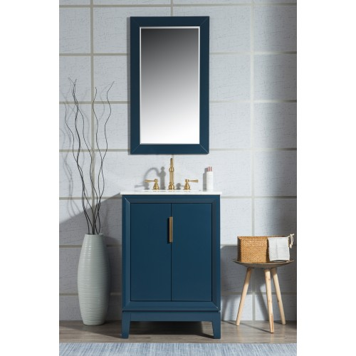 "24"" Single Sink Carrara White Marble Vanity In Monarch Blue"