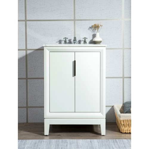 "24"" Single Sink Carrara White Marble Vanity In Pure White"