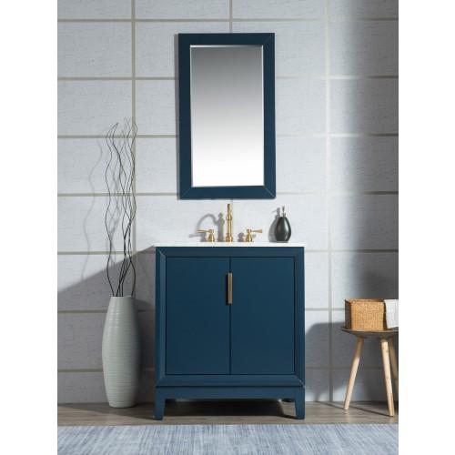 "30"" Single Sink Carrara White Marble Vanity In Monarch Blue"