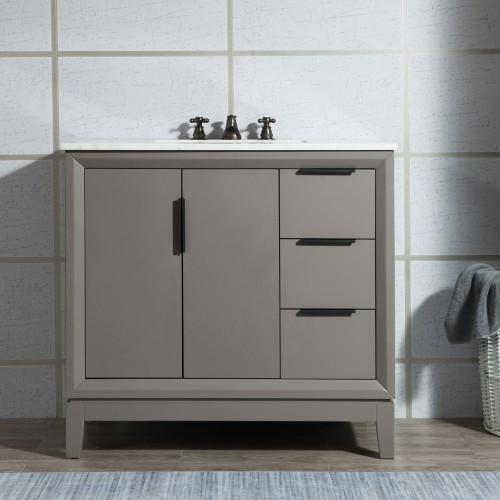"36"" Single Sink Carrara White Marble Vanity In Cashmere Grey"