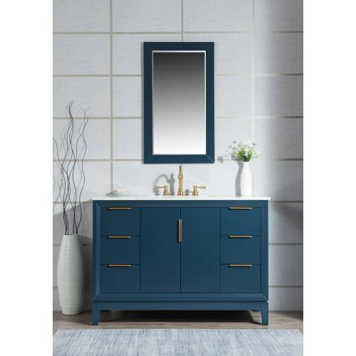 "48"" Single Sink Carrara White Marble Vanity In Monarch Blue"