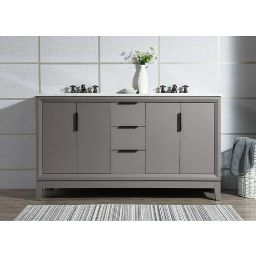 """60"""" Double Sink Carrara White Marble Vanity In Cashmere Grey"""