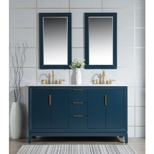 """60"""" Double Sink Carrara White Marble Vanity In Monarch Blue"""