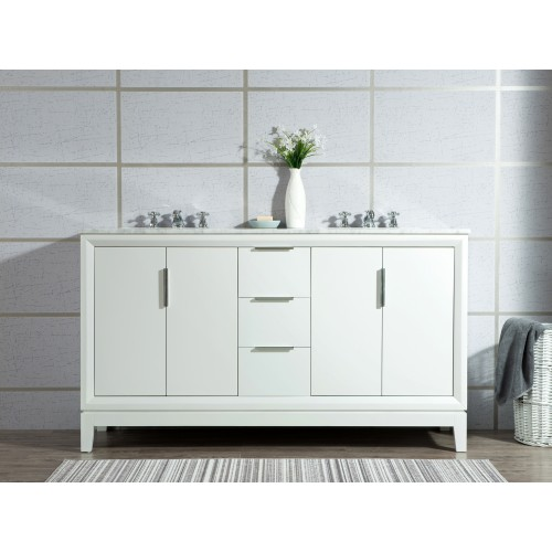 """60"""" Double Sink Carrara White Marble Vanity In Pure White"""