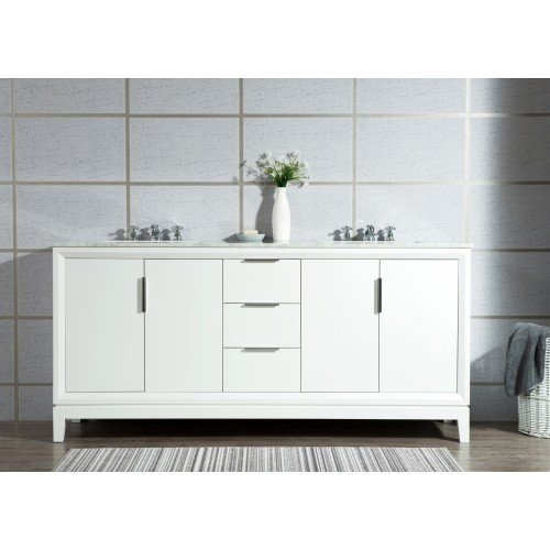 """72"""" Double Sink Carrara White Marble Vanity In Pure White"""