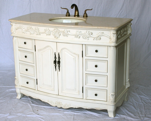 """48"""" Adelina Antique Style Single Sink Bathroom Vanity in Antique White Finish with Beige Stone Countertop"""