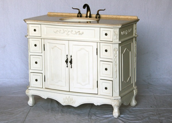 "42"" Adelina Antique Single Sink Bathroom Vanity Antique White Finish with Beige Stone Countertop"