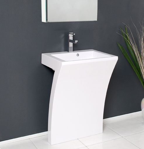 . Fresca Quadro Collection 23  White Pedestal Sink Modern Bathroom