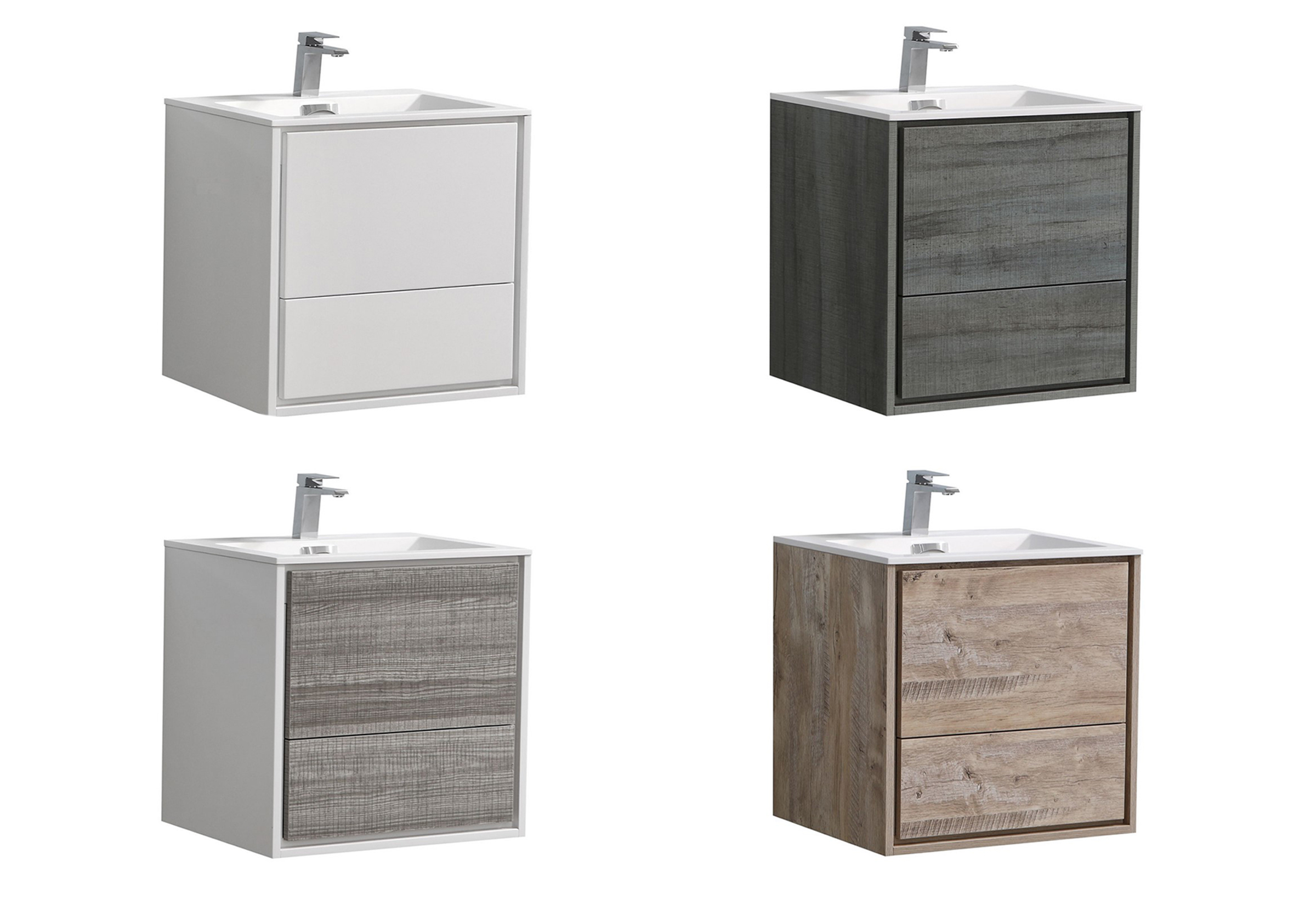 """Modern Lux 24"""" Wall Mount Modern Bathroom Vanity with Color Options"""
