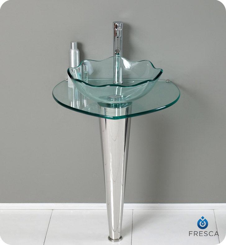 "24"" Modern Glass Wavy Edge Vessel Sink with Faucet and Cabinet Option"
