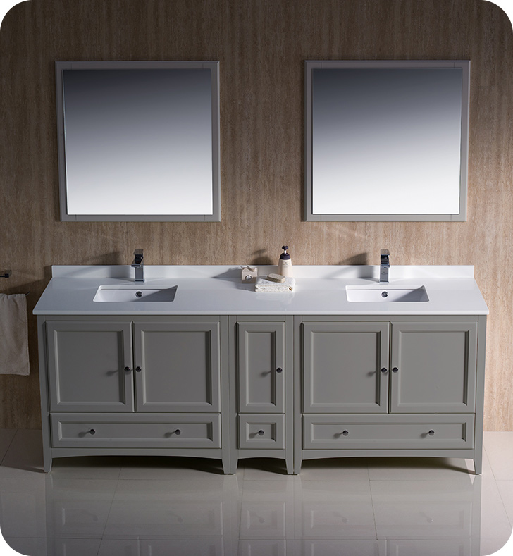 """84"""" Grey Traditional Double Sink Bathroom Vanity with Top, Sink, Faucet and Linen Cabinet Option"""