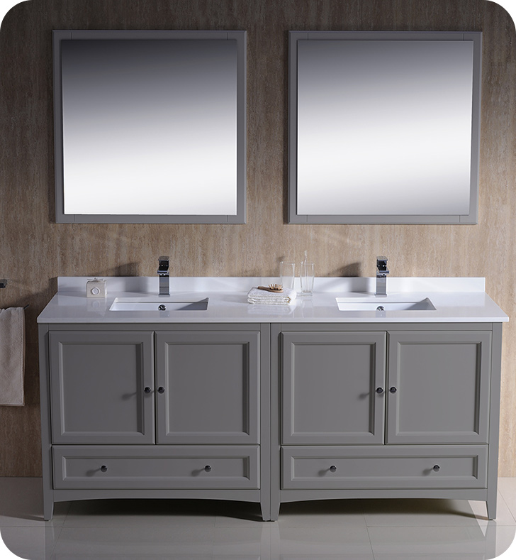"""72"""" Grey Traditional Double Sink Bathroom Vanity with Top, Sink, Faucet and Linen Cabinet Option"""