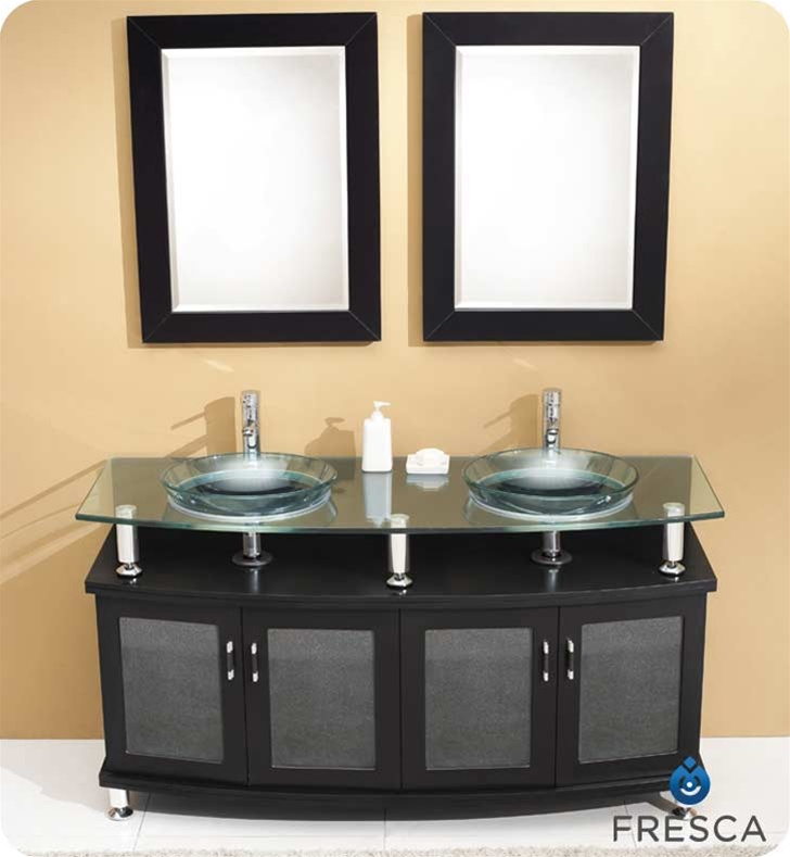 """60"""" Double Modern Bathroom Vanity with Faucet and Linen Cabinet Option"""