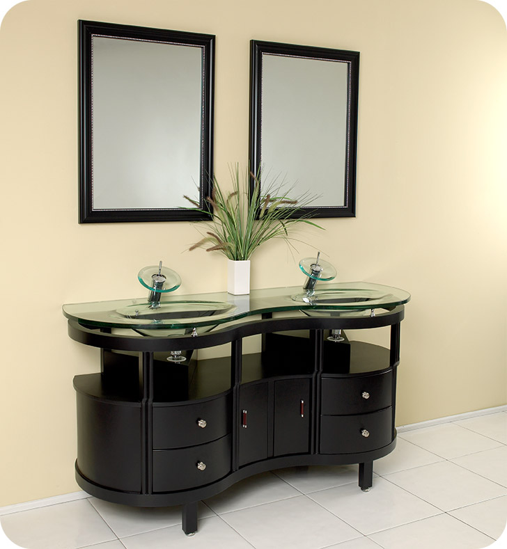"""63"""" Modern Double Bathroom Vanity with Faucet and Linen Cabinet Option"""
