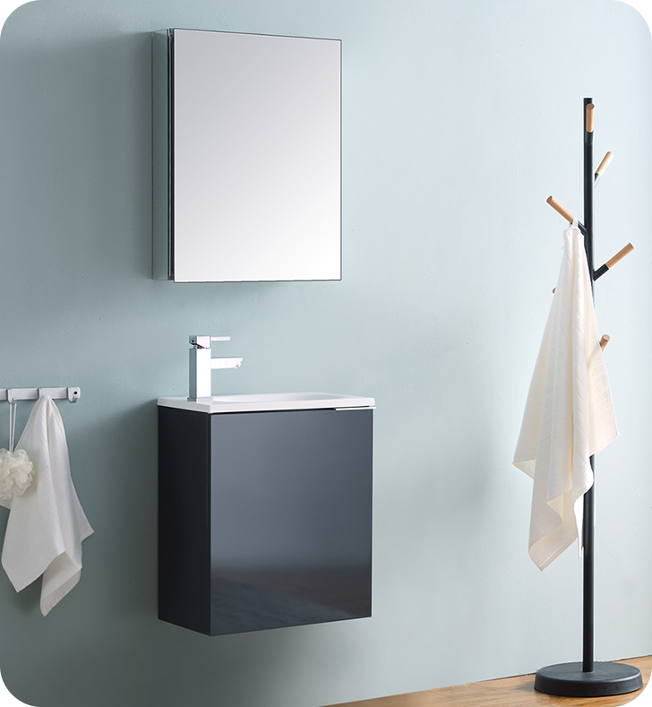 "20"" Wall Hung Modern Bathroom Vanity with Color, Faucet, Medicine Cabinet and Linen Side Cabinet Option"
