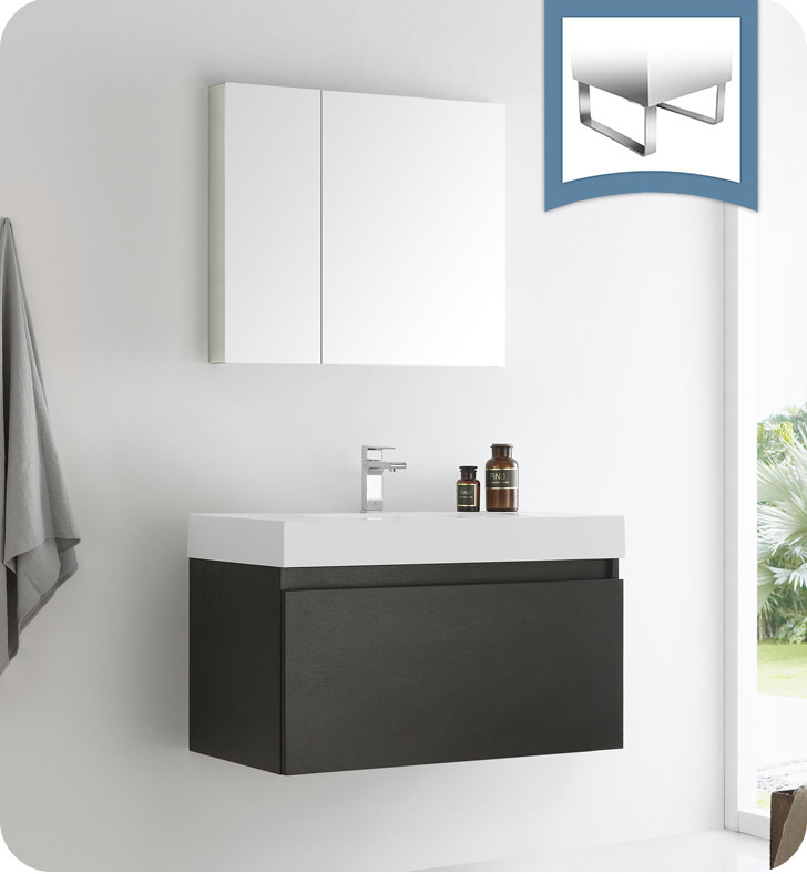 """36"""" Black Wall Hung Modern Bathroom Vanity with Faucet, Medicine Cabinet and Linen Side Cabinet Option"""