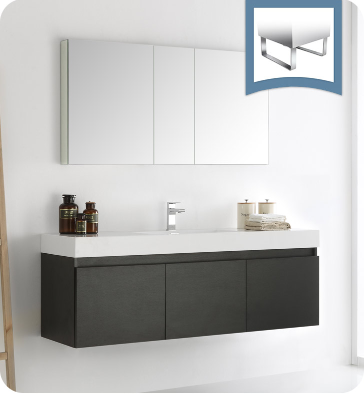 """60"""" Black Wall Hung Single Sink Modern Bathroom Vanity with Faucet, Medicine Cabinet and Linen Side Cabinet Option"""
