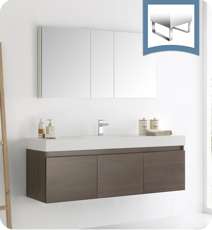 "Fresca Mezzo 60"" Gray Oak Wall Hung Single Sink Modern Bathroom Vanity with Faucet, Medicine Cabinet and Linen Side Cabinet Option"