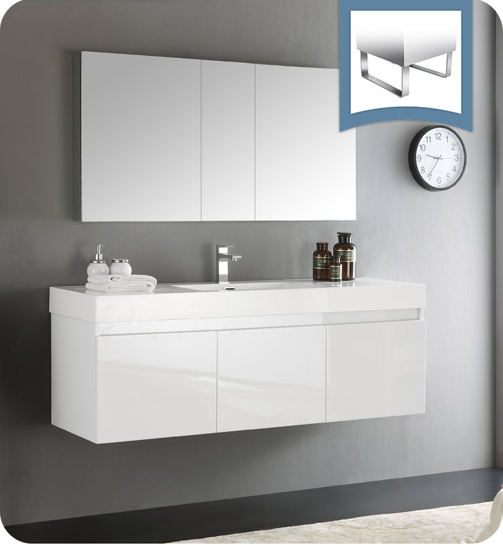 "Fresca Mezzo 60"" White Wall Hung Single Sink Modern Bathroom Vanity with Faucet, Medicine Cabinet and Linen Side Cabinet Option"
