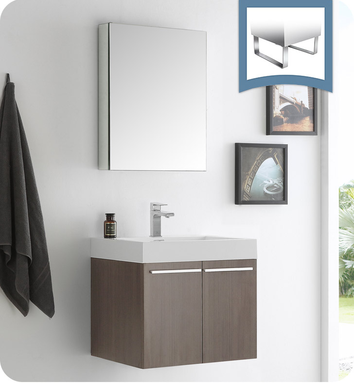 "Fresca Alto 23"" Gray Oak Wall Hung Modern Bathroom Vanity with Faucet, Medicine Cabinet and Linen Side Cabinet Option"