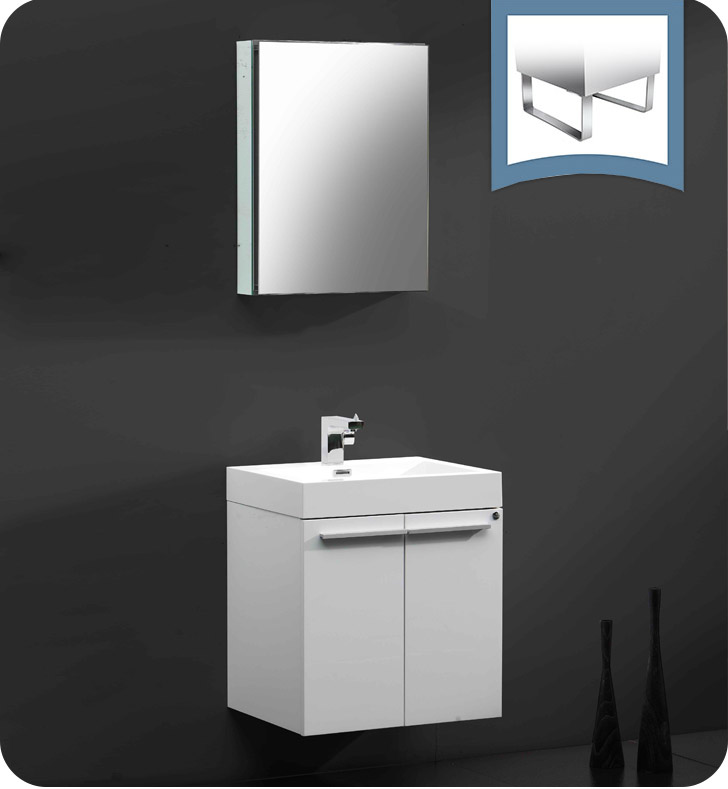 """23"""" White Modern Bathroom Vanity with Faucet, Medicine Cabinet and Linen Side Cabinet Option"""