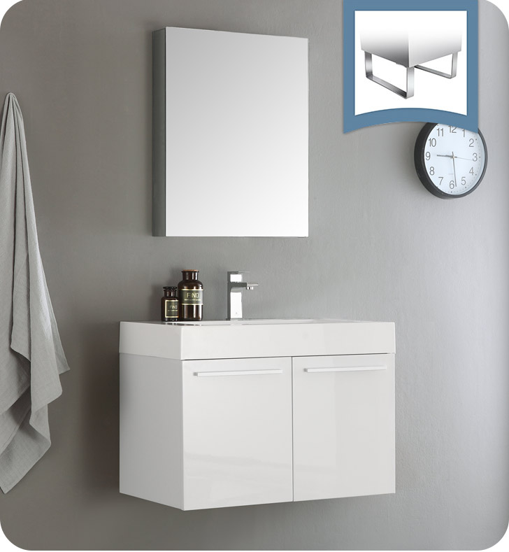 "Fresca Vista 30"" White Wall Hung Modern Bathroom Vanity with Faucet, Medicine Cabinet and Linen Side Cabinet Option"