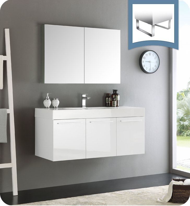 """Fresca Vista 48"""" White Wall Hung Modern Bathroom Vanity with Faucet, Medicine Cabinet and Linen Side Cabinet Option"""