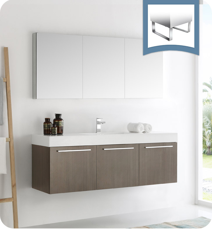 "Fresca Vista 60"" Gray Oak Wall Hung Modern Bathroom Vanity with Faucet, Medicine Cabinet and Linen Side Cabinet Option"
