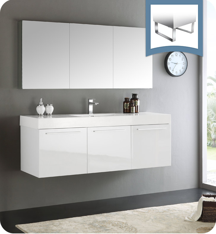 "60"" White Wall Hung Modern Bathroom Vanity with Faucet, Medicine Cabinet and Linen Side Cabinet Option"