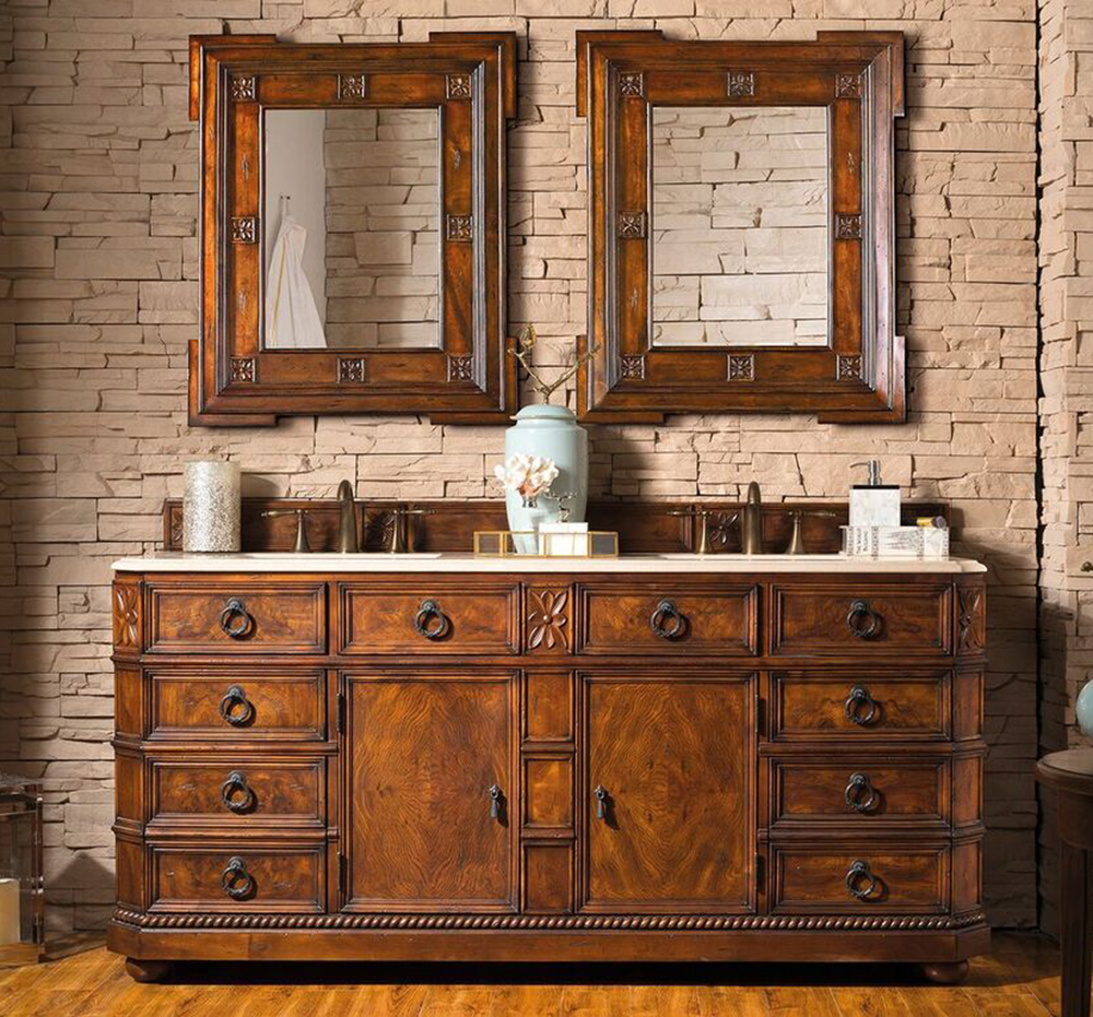 "James Martin Regent Collection 71"" Double Bathroom Vanity, English Burl"