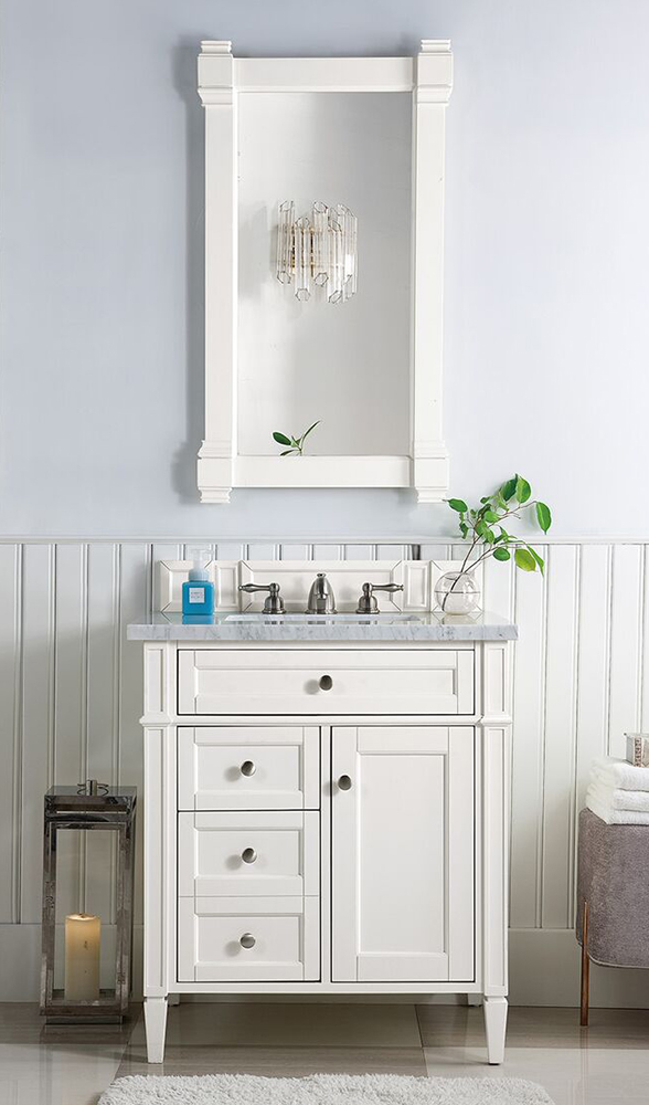 "James Martin Brittany Collection 30"" Single Vanity, Bright White"