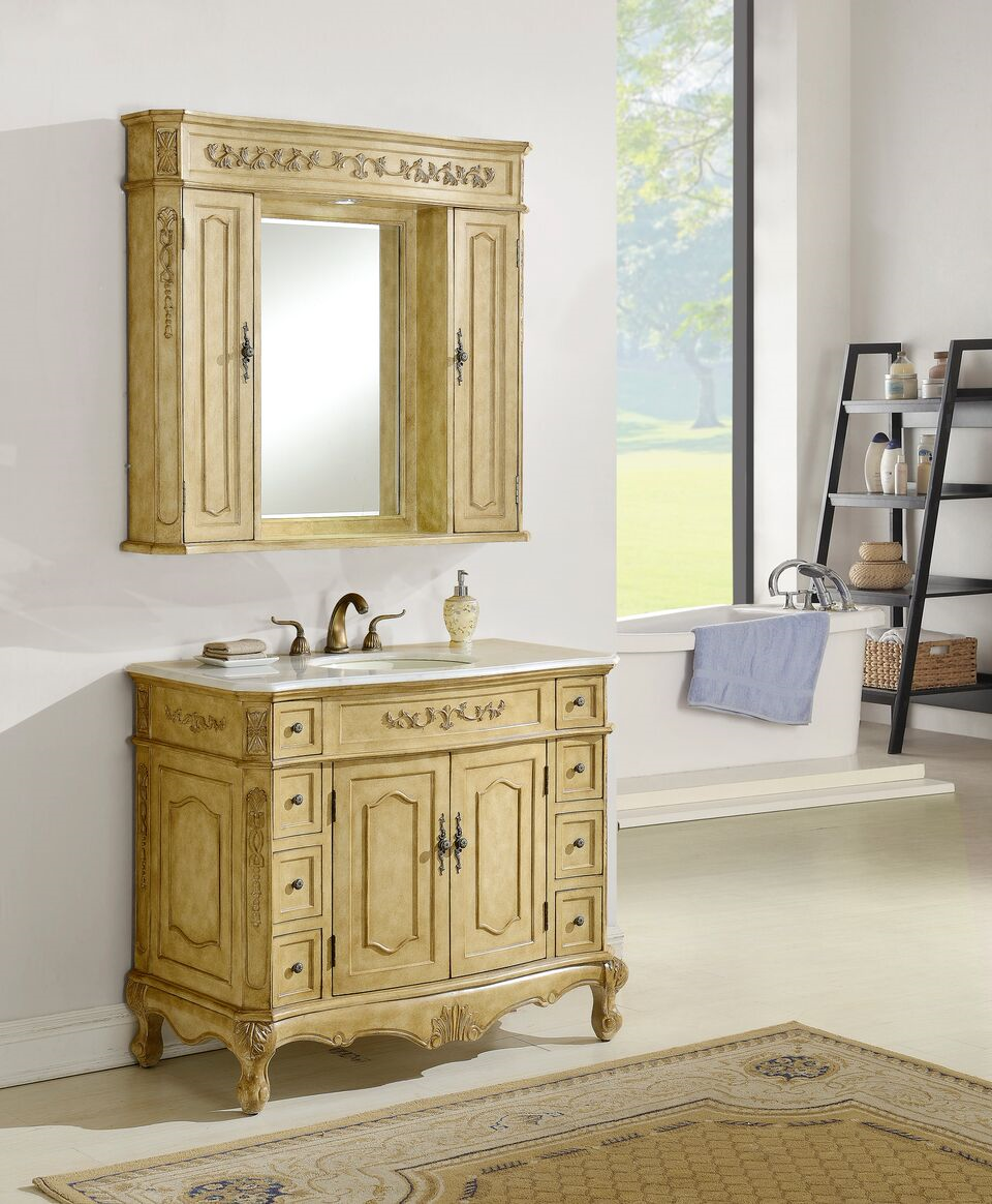 "42"" Antique Tan Vanity Finish with Mirror, Med Cab, and Linen Cab option"