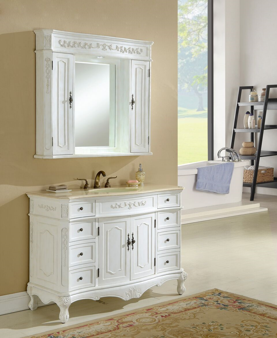 "48"" Antique White Vanity Finsh with Mirror, Med Cab, and Linen Cabinet Options"