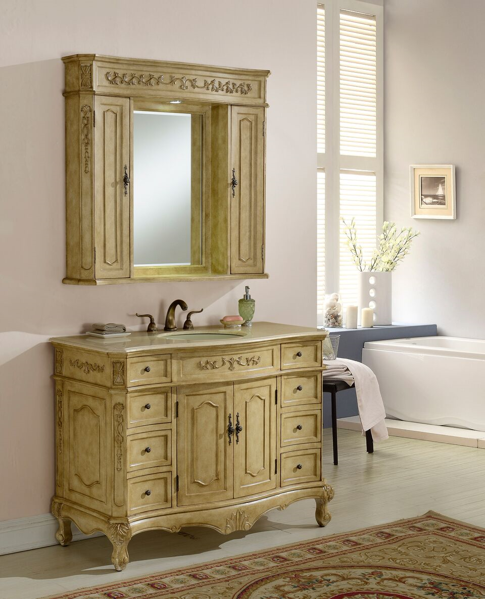 """48"""" Antique Tan Vanity Finish with Mirror, Med Cab, and Linen Cab option"""