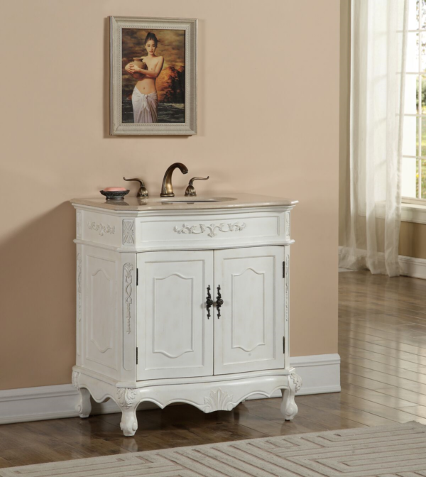 """32"""" Antique White Finish Vanity with Mirror, Med Cab, and Linen Cabinet Options"""