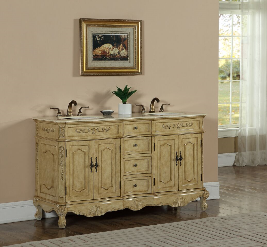 """60"""" Double Antique Tan Finish Bathroom Vanity with Mirror, Med Cab, and Linen Cabinet Options"""