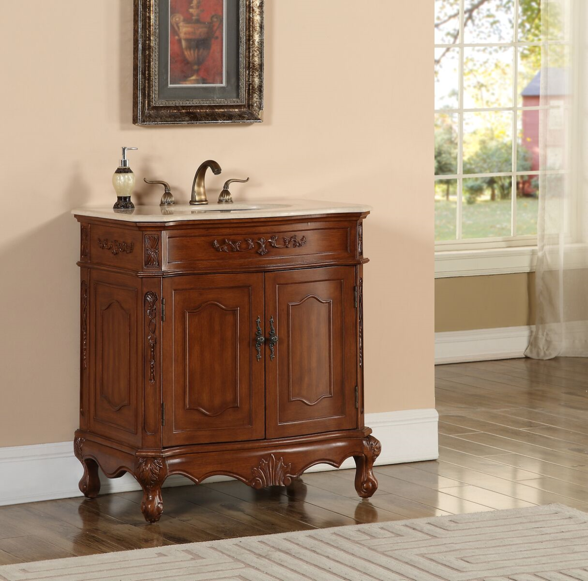 """32"""" Deep Chestnut Finish Vanity with Mirror, Med Cab, and Linen Cabinet Options"""