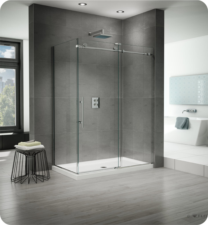 Fleurco Kinetik 2-Sided In-Line 60 Shower Door and Fixed Panel with Return Panel (Closes against Return Panel)