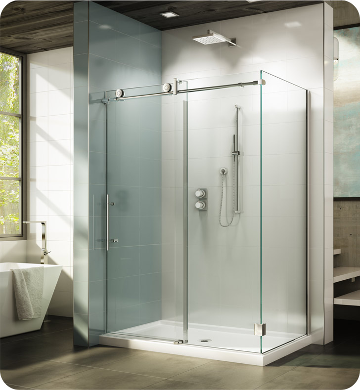 Fleurco KN Kinetik In-Line 48 Sliding Shower Door and Fixed Panel with Return Panel and Flush-pull Handle (Closes against Wall)