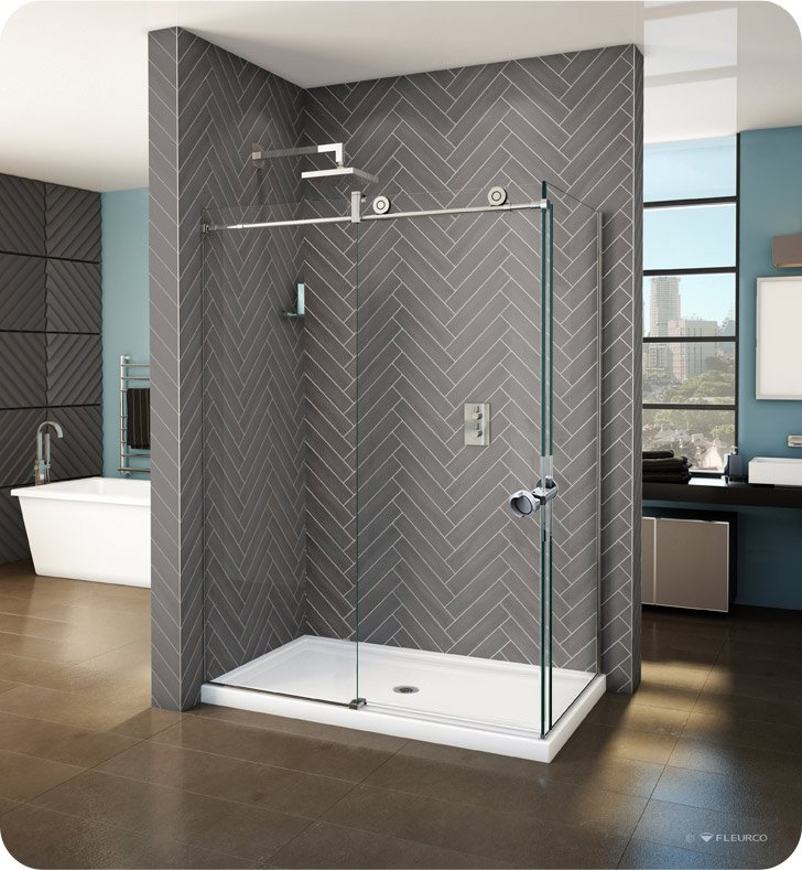Fleurco KN Kinetik In-Line 48 Sliding Shower Door and Fixed Panel with Return Panel and Flush-pull Handle (Closes against return panel)
