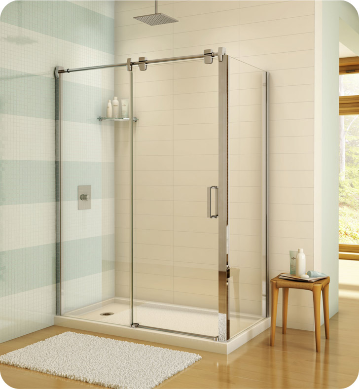"""Fleurco Luxe Glide 57"""" In-Line Sliding Shower Door and Fixed Panel with Return Panel"""