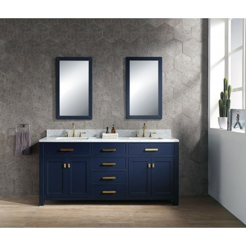 "72"" Monarch Blue Double Sink Bathroom Vanity"