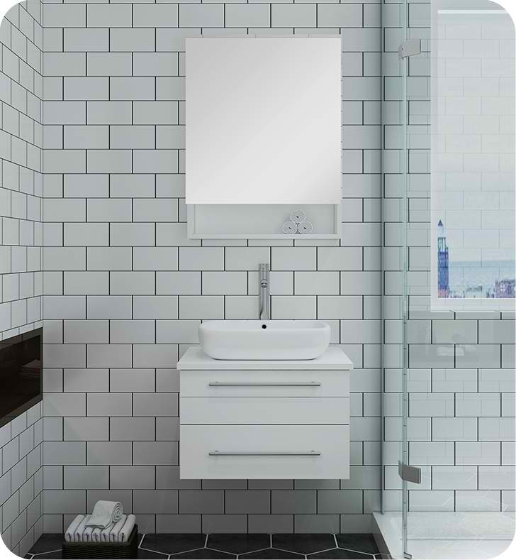"""24"""" White Wall Hung Vessel Sink Modern Bathroom Vanity with Medicine Cabinet"""