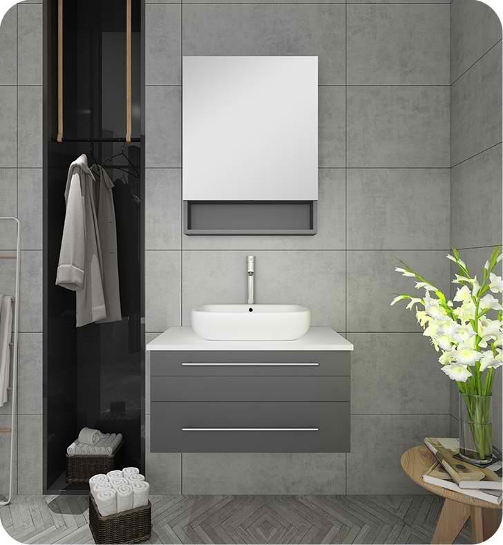 30 Gray Wall Hung Vessel Sink Modern Bathroom Vanity With Medicine Cabinet