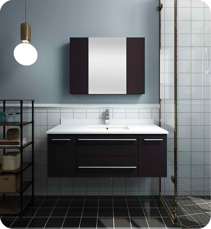 "42"" Espresso Wall Hung Undermount Sink Modern Bathroom Vanity with Medicine Cabinet"