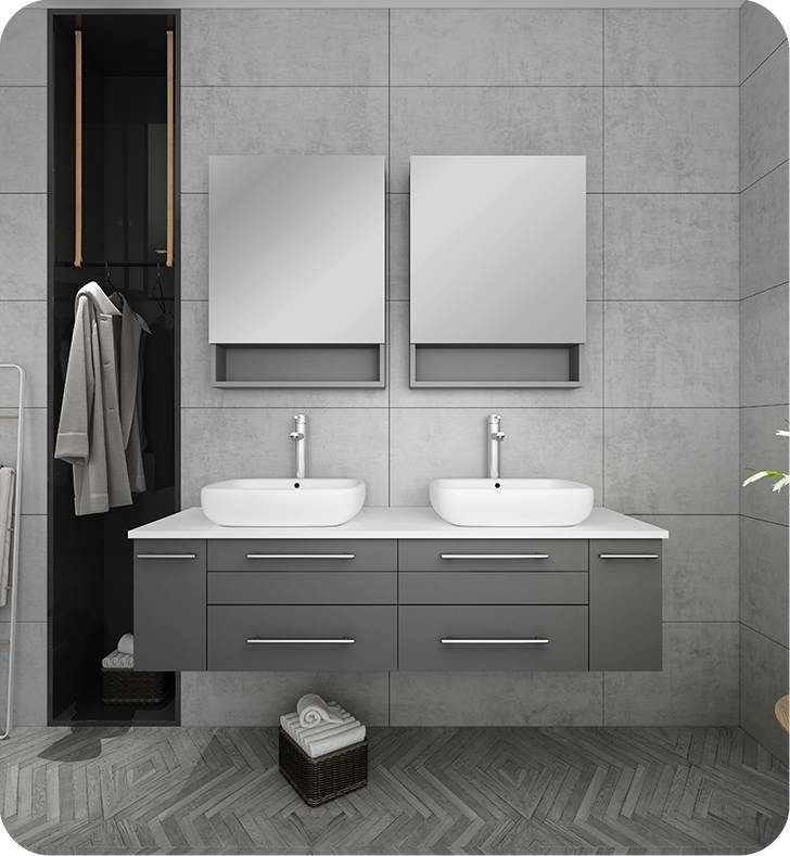 "60"" Gray Wall Hung Double Vessel Sink Modern Bathroom Vanity with Medicine Cabinets"