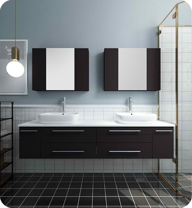 "72"" Espresso Wall Hung Double Vessel Sink Modern Bathroom Vanity with Medicine Cabinets"