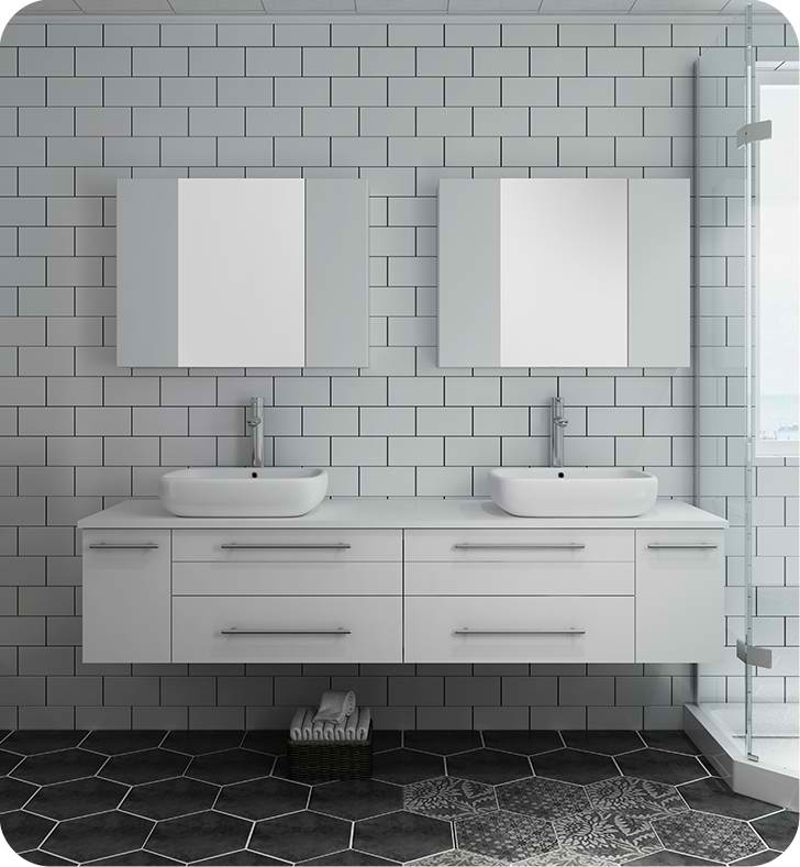 """72"""" White Wall Hung Double Vessel Sink Modern Bathroom Vanity with Medicine Cabinets"""